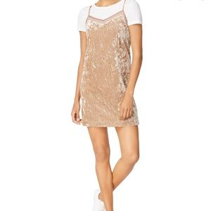 Kenzie Gold Crushed Velvet Mini Cami Tank Dress